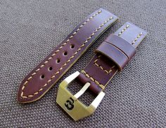 Brown leather handmade watch strap with solid brass/bronze