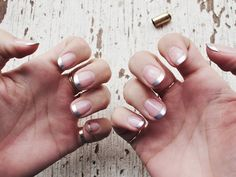 silver french manicure.