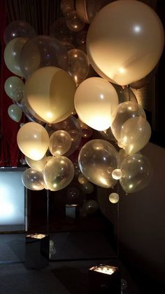 A Gatsby themed corporate party called for some large ivory and clear balloon bouquets   Balloons by Tommy   #balloonsbytommy