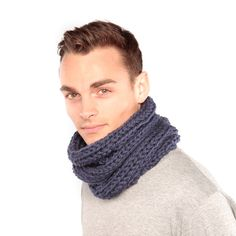 Chunky Knit Cowl in mid blue handmade by yours truly.  #handmade #chunkyknit #wool #cowl #snood #blue #ForHim #Knit #Urbanknit #WinterWarmer