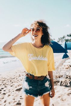 """""""sunkissed"""" graphic tee and a denim mini skirt Summer Holiday Outfits, Spring Summer Fashion, Holiday 2014, Surf Style, My Style, Grunge, Casual Outfits, Cute Outfits, Yellow Tees"""