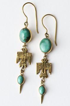 Southwest Turquoise Earrings – Brass - Spell Designs