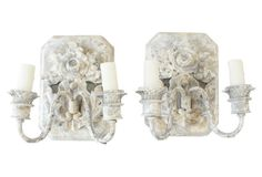 Hand-Painted    Sconces, Pair