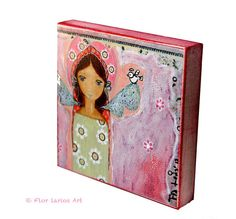 Angel with Bird    Giclee print mounted on Wood 4 x by FlorLarios, $18.00