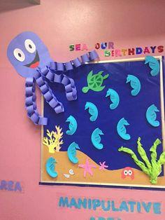 Under the sea Birthday Bulletin Boards, Classroom Birthday, Birthday Wall, Ocean Themed Classroom, Ocean Bulletin Board, Birthday Board, Preschool Classroom Themes, Toddler Classroom, Classroom Crafts