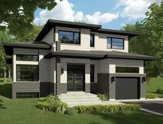 House Plan 50342   Contemporary    Plan with 1668 Sq. Ft., 3 Bedrooms, 2 Bathrooms, 1 Car Garage