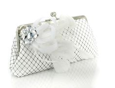 White Clutch with Rhinestone Fascinator in white 8 by ANGEEW, $70.00
