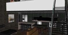 New York style loft apartment - Dark kitchen mockup with caesar stone bench, island bench and dark walls/floors and stairs to mezzanine bedroom. Caesar Stone, Mezzanine Bedroom, Central Building, Stone Bench, Island Bench, Dark Walls, New York Style, Mockup, Floors