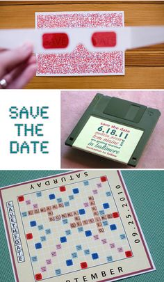 Want people to remind people to Save the Date of your wedding? What about Save the Dates or Floppy Disk reminders? Cool alternative Save the Date ideas Funny Save The Dates, Wedding Save The Dates, Save The Date Cards, Our Wedding, Dream Wedding, Snow Wedding, Wedding Stuff, Funeral Invitation, Birthday Invitations