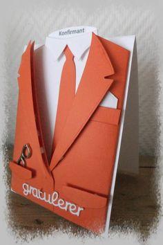 Konfirmasjon / Skjortekort Masculine Cards, Card Designs, Dame, Scrap, Container, Cards, Card Patterns