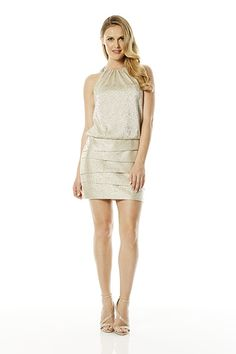 Laundry Embellished Neck Dress in Platinum