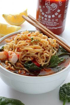 20-Minute Sriracha Shrimp Ramen Noodle Soup - SO flavorful, filling, and ready in 20 minutes! We LOVE this.
