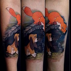 A sweet Fox and the Hound piece done by @jessyknuckles #inkeddisney