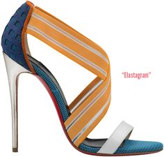 Elastagram   sporty cross-strap in white, orange & blue with a mirrored pale gold covered 120mm heel; available at  Neiman Marcus