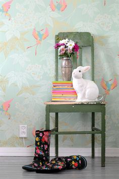 old chair and a bunny lamp. i want a bunny lamp.