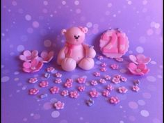 Teddy bear Fondant cake topper with flowers and by XbakesbyXimena