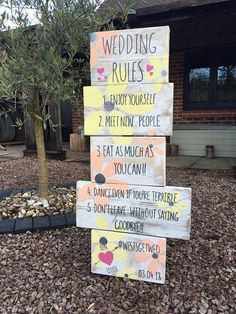 Teepee Wedding Order of the day sign Wedding rules sign