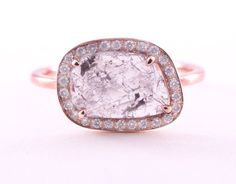 Diamond Slice  Ring Rose 14K Gold Ring Engagement by Tulajewelry, $985.00