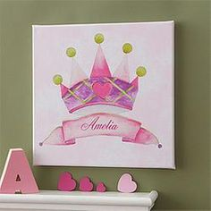 Personalized Kids Canvas Art - Princess Crown