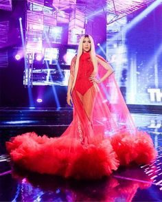 Giving us no less than extravagance, Vice Ganda shows us how it's done to be a real superstar in Idol Philippines. Here are our favorite looks. Sheer Dress, I Dress, Michael Cinco Gowns, Neon Dresses, Formal Dresses, Vice Ganda, Red Bodysuit, Red Blazer, Her Style