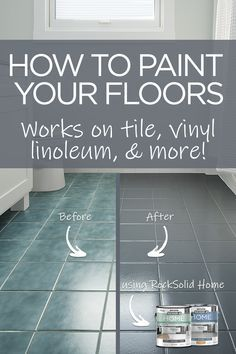 Transform your bathroom in a day by painting your floor! Give your bathroom floor new life with this easy and inexpensive DIY floor painting project. Works on tile, linoleum, laminate, and more! No sanding or priming is required! Painting Tile Floors, Painted Floors, Painting Bathroom Tiles, Painting Ceramic Tile Floor, Painted Tiles, Bathroom Mirrors, Painting Tile Countertops, Painting Over Tiles, Small Bathroom