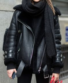 All black outfit winter fashion style ideas warm layers