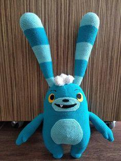 Abby Hatcher Bozzly crochet Bunny Ready to ship Crochet Bunny, Crochet Dolls, Character Cakes, Bunny Plush, Amigurumi Doll, Cartoon Characters, Little Boys, To My Daughter, Dinosaur Stuffed Animal