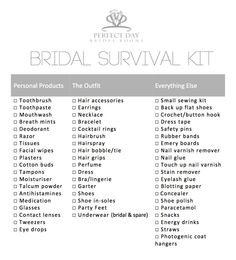 Bridal Survival Kit   Perfect Day Bridal