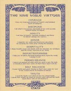 Nine Noble Virtues poster #personaldevelopment