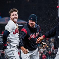 Cleveland Indians Tyler Naquin celebrates with Trevor Bauer after hitting a walk-off RBI single in the against the Seattle Mariners at Progressive Field. May Indians won Cute Baseball Players, Baseball Teams, Baseball Pants, Cleveland Indians Baseball, Cleveland Rocks, Trevor Bauer, Seattle Mariners, Diamond Are A Girls Best Friend