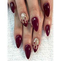 Blood and gold glitter is glamorous! ✨#nailart #nails #stilettonails #nailporn #nailswag #nailaddict #gelnails #acrylicnails #acrylic #gold #glitter #miaminailtech #miami #miaminailart #miaminailsalon #instanails #nails2inspire #nailsoftheday