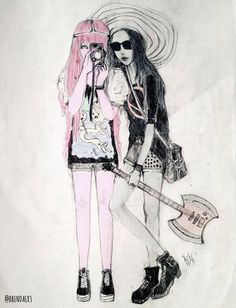 Marceline Abadeer the Vampire Queen and Princess Bonnibel Bubblegum | Adventure Time #bubbline #sugarless-gum