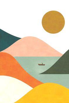 Landscape Set of two prints Bold Print Wallpaper - landscape - Small Canvas Art, Art Painting, Glicee Prints, Painting Inspiration, Painting, Painting Art Projects, Prints, Diy Canvas Art, Cute Canvas Paintings