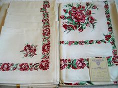 Vintage Kempray Rambler Rose Tablecloth Napkins Set Mint in Box by BlackRain4, $59.99 (This would make a great wedding or bridal shower gift!)