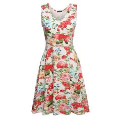 Summer dress Women Sexy 1950s Lady Elegant Print Casual Floral Sleeveless Dress Sundress Feminino Vestidos