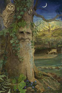 Druids Trees: A tree spirit. Fantasy Kunst, Fantasy Art, Nature Spirits, Tree Carving, Owl Art, Fairy Art, Green Man, Tree Art, Fantasy World
