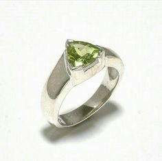 Sterling Silver Ring with Triangular Hand Cut Peridot Gemstone Golden Triangle, Triangle Shape, Sterling Silver Jewelry, Silver Rings, Silver Jewellery, Semi Precious Gemstones, Jaipur, Peridot, Four Square