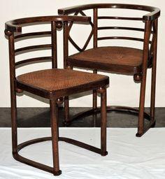 1907 Secessionist cafe chair, dsgn-J Hoffmann, J&J Kohn, Vienna,Austria, for Cabaret  Fledermaus, beech, 29t, 16-6.. http://www.ebay.com/usr/circa19century