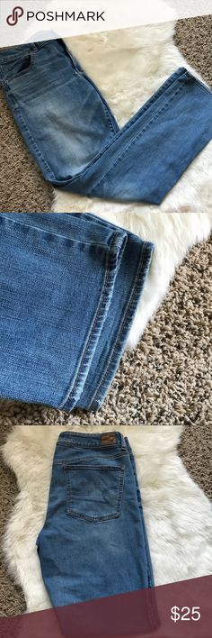 AEO Size 14 Straight Leg Jeans In good condition! Unfortunately these were my pre baby jeans and I cannot wear these anymore 😭😭 American Eagle Outfitters Jeans Straight Leg