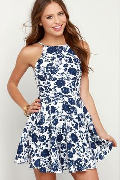 Floral Print Dress - Ivory and Navy Blue Dress - Skater Dress - Fit and Flare Dress - $63.00