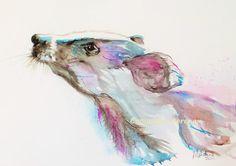 Original Painting 'Badger' Watercolour 8 x 11 by morenaartina