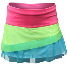 Lucky in Love Ms. Navata-luv-ya Junior Girls Tennis Pleat Ruffle Skorts - Neon Yellow/Pink/Bay Blue