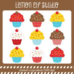 Sweet cupcakes clipart set comes with variety colors of delicious decorative cupcakes. These cliparts are perfect for creating invitations, printable party decorations, scrapbook and more! Sweets Clipart, Cupcake Clipart, Cupcakes Wallpaper, Elf Studio, Cupcake Pictures, Create Invitations, Sweet Cupcakes, Clipart Design, Party Printables