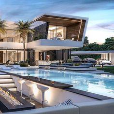Dubai Houses, Pool Houses, Houses With Pools, House Pools, Houses Houses, Miami Houses, Modern Villa Design, Luxury Homes Dream Houses, Luxury Modern House