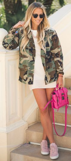 Classic and timeless style + army style camo jacket + mini dress + simple top + Janni Deler + feminine twist + hot pink bag + matching sneakers  Jacket: JN Llovet, Dress: Choies, Bag: Phillip Lim, Shoes: Jim Rickey.
