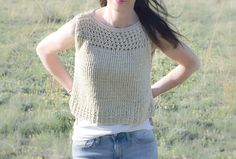 Hi friends! You might remember that last summer I conquered my first knit top pattern (you can see it here) and a crocheted 'Broomstick Lace' top (see here). I was ready to make another one, and am so pleased with how it turned out! Comfortable, fun, EASY, practical and simple to customize. I wore it to the grocery store the other day just before taking pictures for the blog, and ran into a friend of mine. She just loved it and asked if I made it. In her words 'It's so eye ...