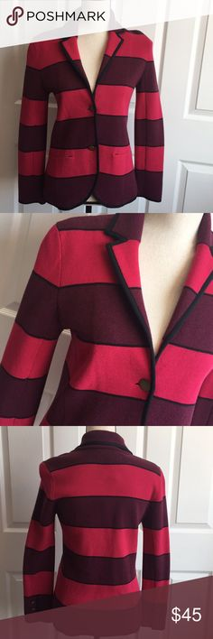 "Ann Taylor Loft Knit Blazer Ann Taylor Loft Knit Blazer in Burgundy, Pink and Black Stripe styling. Bronze buttons on cuffs and front. Front pockets. 17"" pit to pit flat lay. 25"" shoulder to hem. 23"" arm length. New with tags. Ann Taylor Jackets & Coats Blazers"