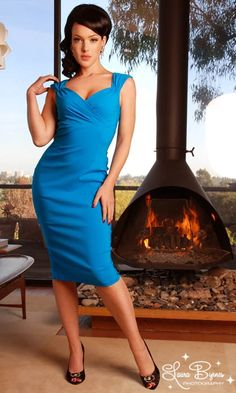 Erin Wiggle Dress in Turquoise Stretch Bengaline from Pinup Couture