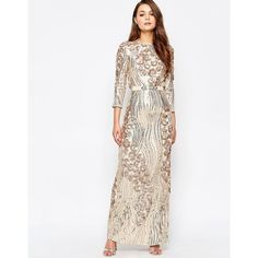 Little Mistress Heavily Embellished 3/4 Sleeve Maxi Dress (£105) ❤ liked on Polyvore featuring dresses, gold, white sequin dress, white 3/4 sleeve dress, slimming dresses, embellished dress and maxi dresses