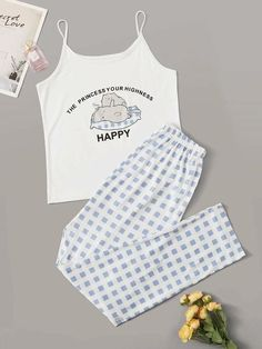 Shop Cartoon Cat & Gingham Cami PJ Set at ROMWE, discover more fashion styles online. Really Cute Outfits, Cute Lazy Outfits, Kids Outfits Girls, Girls Fashion Clothes, Teen Fashion Outfits, Mode Outfits, Stylish Outfits, Girl Outfits, Cute Pajama Sets